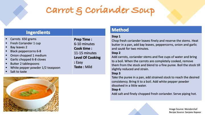 Recipe Carrot&Coriander
